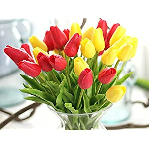 Artificial Flowers Real Touch PU Mini Tulips Artificial Plants for Wedding Bouquet Living Room Home Hotel Party Christmas Decoration and Holiday Valentines Day Gift, Vase Not Included 4