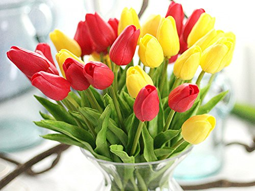 Artificial-Flowers-Real-Touch-PU-Mini-Tulips-Artificial-Plants-for-Wedding-Bouquet-Living-Room-Home-Hotel-Party-Christmas-Decoration-and-Holiday-Valentines-Day-Gift-Vase-Not-Included