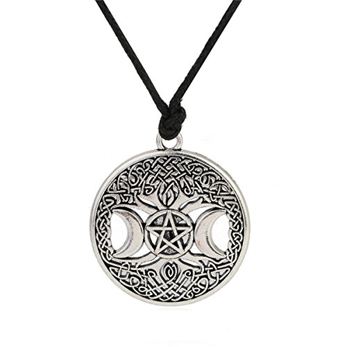 - Ztuo Antique Silver Tree of Life Triple Moon Goddess Necklace Celtic Knot Pentagram Pentacle Star Pendant