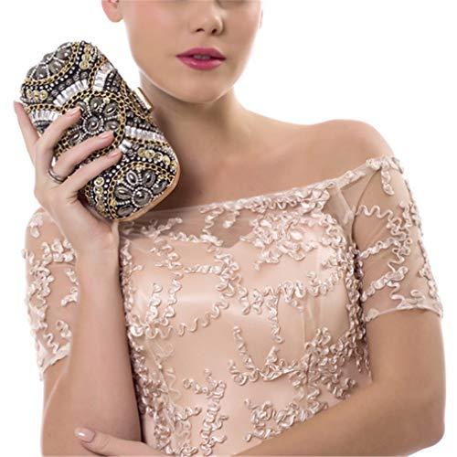 Shoulder Bags Wedding Retro Rhinestone Bags Women's Diamond Evening ULKpiaoliang Clutch Bag YM1142purple Crystal Beaded Beaded Bag Small T6x1q