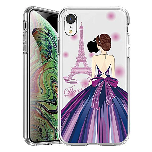 GoldSwift Cute Cartoon Clear Case for iPhone XR with Tempered Glass Screen Protector (Girl and Eiffel Tower)