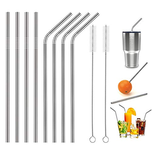 HAHOME FDA-Approved Extra Long 10.5 Stainless Steel Drinking Straws,Reusable Metal Drinking Straws (4 Straight + 4 Bent + 2 Brushes)