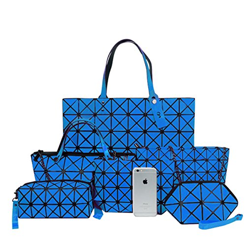 Flada Girls PU Leather Geometric Handbag + Metal Chain Shoulder Bag + Crossbody Bag + Messenger Bag + Wallet Purse + Bolsa de maquillaje Six-piece Set Yellow Azul