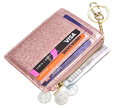 Womens Slim RFID Credit Card Holder Mini Front Pocket Wallet Coin Purse Keychain ()