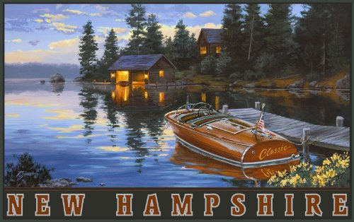 Northwest Art Mall New Hampshire Chris Craft Boat on Lake Wall Artwork by Darrell Bush 11 by - In New Hampshire Malls