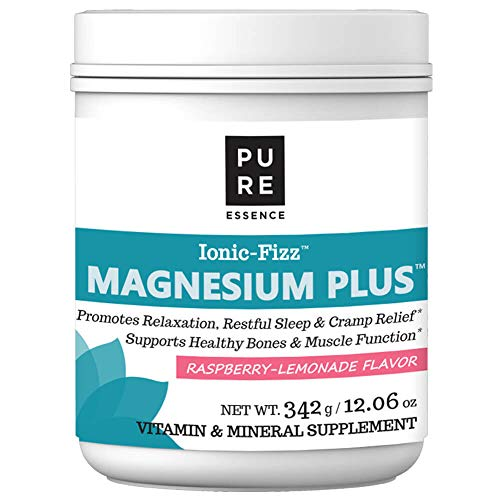 Pure Essence Labs Ionic Fizz Magnesium Plus - Calm Sleep Aid and Natural Anti Stress Supplement Powder - Raspberry Lemonade - 12.06 -