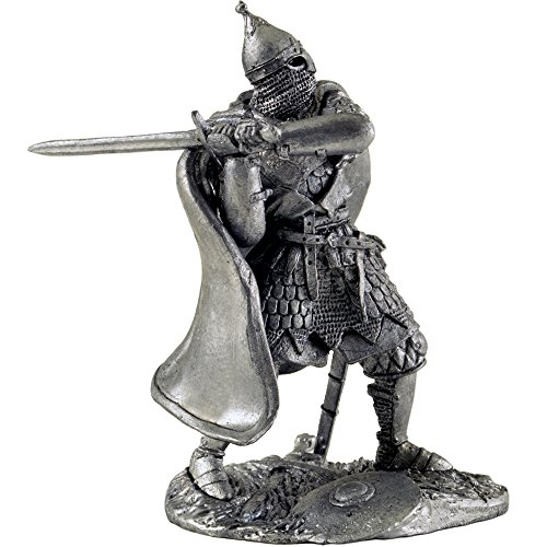 Miniature 1129 - Russian warrior with sword 16th century metal sculpture. Collection 54mm (scale 1/32) miniature figurine. Tin toy soldiers