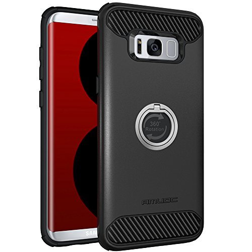 Galaxy S8 Plus Case, Amuoc Heavy Duty Shockproof Anti-Scratch Case with 360 Degree Rotating Ring Grip kickstand for Galaxy S8 Plus