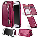 Zipper Wallet Case for iPhone 6S Plus,Shinyzone iPhone 6 Plus Case with Money Pocket [One Magnetic Buckle] Premium Vintage Leather PU Flip Back Cover-Rose Red