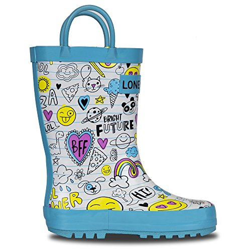 LONECONE Children's Waterproof Rubber Rain Boots in Fun Patterns with Easy-On Handles Simple for Kids, Oodles of Doodles, Toddler 8 by LONECONE (Image #2)