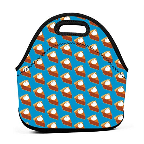 Jake Fashion Shop Neoprene Portable Lunch Bag Carry Case Tote with Zipper Box Cooler Container Bags Picnic Outdoor Travel Fashionable Handbag Pouch for Women Men Kids Girls (Pumpkin Pie)]()