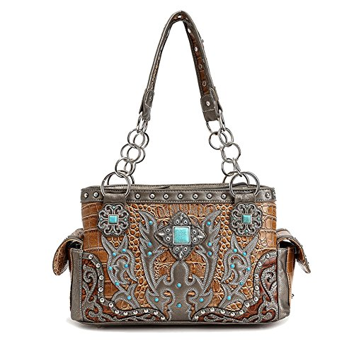 Best Pewter Tan Concealed to Carry Faux Alligator Leather Chain Strap Work Purse Handbag Satchel Bag Quirky Last Minute Fun Great Nice Christmas 2017 Stocking Stuffer Gift Idea Women Girlfriend Wife