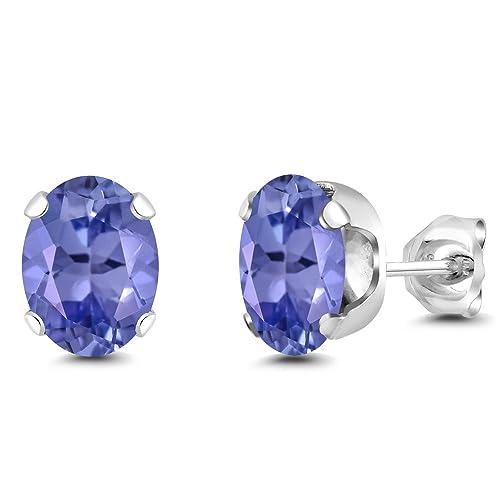 Gem Stone King 2.32 Ct Oval Blue AAA Tanzanite 14K White Gold Stud Earrings
