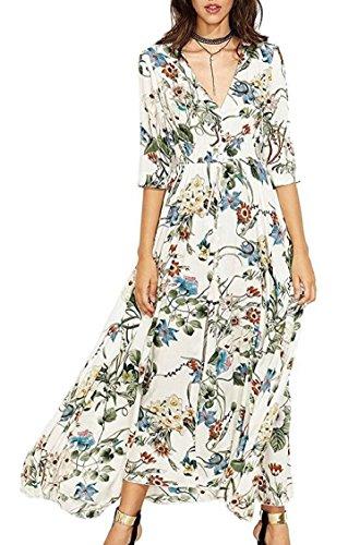 Party Dress Front Floral Print up 6 Split Maxi Women's Flowy Jaycargogo Button vw4fqx8CBf