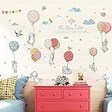 Rabbit Balloon Wall Sticker Kids Room Decoration Kindergarten Classroom Art Background Autocollant Mural Home Decor Wall Stickers