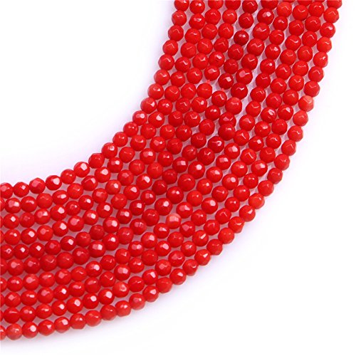 Red Coral Beads for Jewelry Making Gemstone Semi Precious 3mm Round Faceted 15