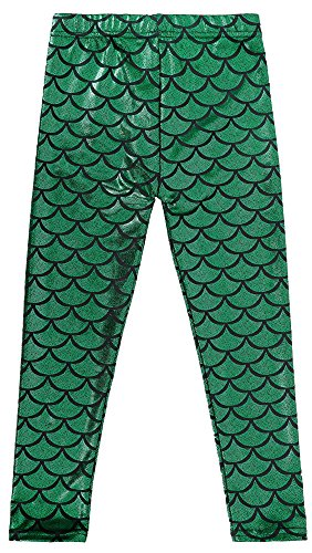 Scale Print (Simplicity Children Mermaid Scale Print Full Length Leggings Pants, Green, L)