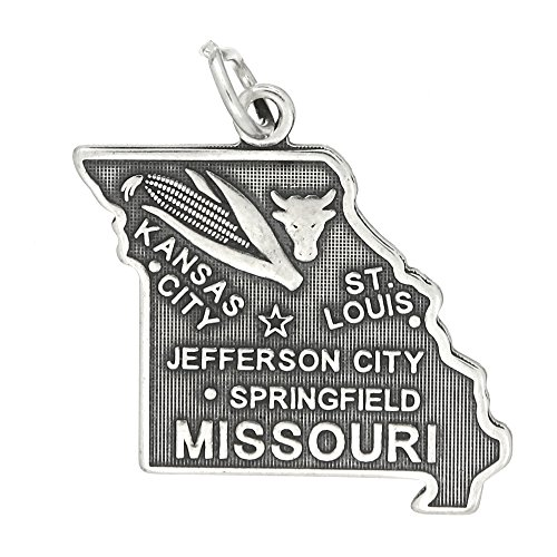 (Sterling Silver Oxidized Travel State Map of Missouri Charm Pendant)