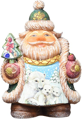 G. Debrekht Illustrated Santa with Polar Bear and Cubs