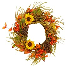Your Hearts Delight Sunflowers Berries and Cones Wreath, 11-Inch