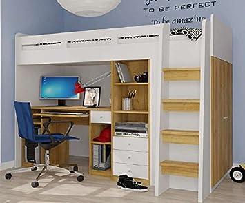 Etagenbett Mit Integriertem Schrank : Hochbett etagenbett mit kleiderschrank und schreibtisch