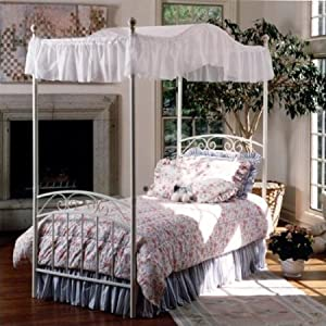 durable steel frame comfortable fairy tale inspired enchanting emily princess metal canopy bed in white finish twin - Metal Canopy Bed Frame