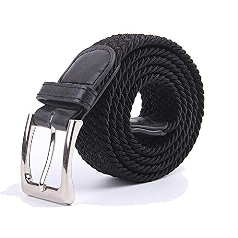 Canvas Elastic Fabric Woven Stretch Multicolored Braided Belts 2041-Black-M