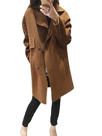 gabardinas para mujer de manga larga capa Abrigo largo Gabardina chaquetas XL Coffee: Amazon.es: Ropa y accesorios