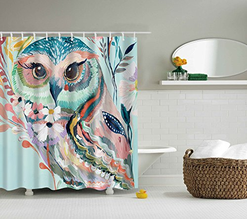 Goldleaf Home Cute owl Digital printing shower curtain Mildew Resistant Waterproof Standard Shower Curtain by Goldleaf