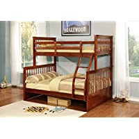 Kings Brand Furniture Walnut Finish Wood Twin Over Full Size Convertible Bunk Bed