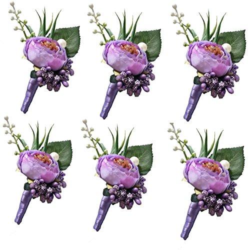6 Pieces/lot Groom Boutonniere Man Buttonholes Wedding Flowers Party Decoration (Light - Purple Boutonniere