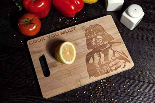 (TemTar Darth Vader cook you must Engraved Bamboo Wood Kitchen Cutting Board with Handle Star Wars Foodie Gift)