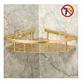 Bearstar Triangle Aluminum Bathroom Show Shelf,No Drilling Polished Golden