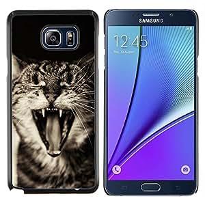 Gato American Curl Bobtail- Metal de aluminio y de plástico duro Caja del teléfono - Negro - Samsung Galaxy Note5 / N920