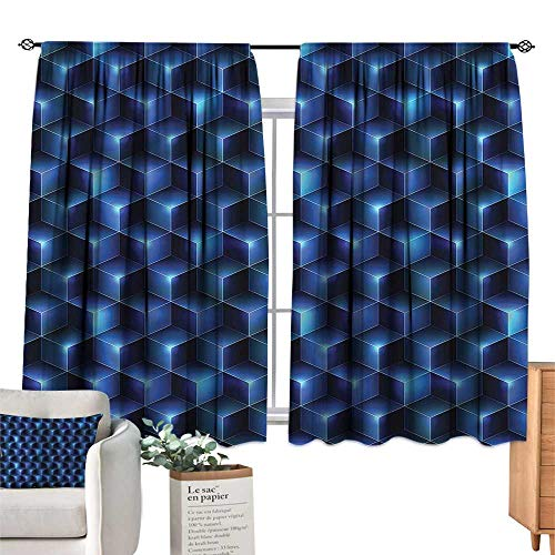 WinfreyDecor Navy Blue Light Luxury high-end Curtains Contemporary Style Cubes Set of Two Panels 72
