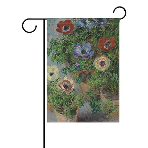 (WIHVE Poppy Flowers Monet Art Garden Flag Banner 28 x 40 Inch for Anniversary Seasonal Home Outdoor Garden Decor - Double Sided)