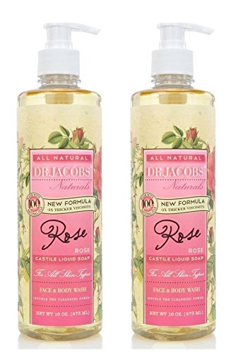 Dr Jacobs Natural Face and Body Wash Rose (Pack of 2) Natural Oils, New Formula, 2x Thicker Viscosity, All Skin Types and Double the Cleansing Power, 16 fl. oz. Each