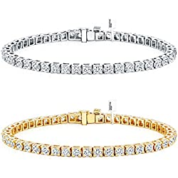 Diamond Wish 14k Gold Round Cut Diamond Tennis Link Bracelets 4-Prong (1 1/2ct-15 cttw, J-K, I2-I3)