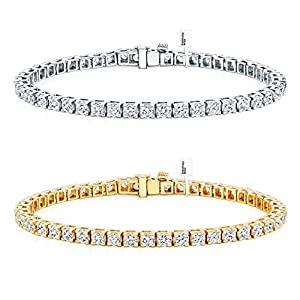 Diamond Wish 14k Gold Round Cut Diamond Tennis Link Bracelets 4 Prong (1 1/2ct 15 cttw, J K, I2 I3)