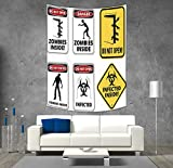 iPrint Polyester Tapestry Wall Hanging,Zombie Decor,Warning Signs for Evil Creatures Paranormal Construction Do Not Open Artwork,Multicolor,Wall Decor for Bedroom Living Room Dorm