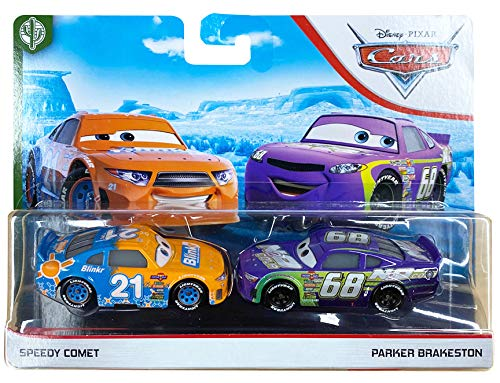 Disney and Pixar Cars Speedy Comet and Parker Brakeston 2-Pack Story Race Toy (Speedy Race)