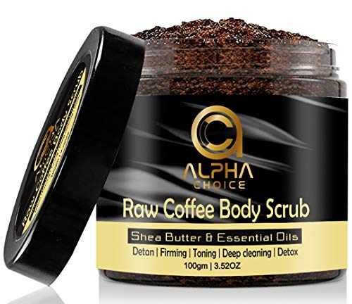 ALPHA CHOICE Body Scrub, D Tan, Exfoliating, Deep cleaning, Reduce Cellulite, Raw Coffee Scrub for Women and Men-100gm