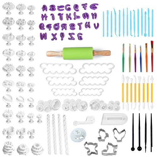 Fondant Tools,Fondant Mold 130 PCS Sugarcraft Cake Decorating Supplies Fondant Cake Cutter with Rolling Pin, Smoother, Embosser Mold Sets