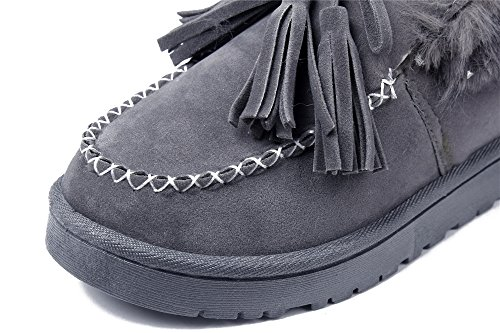 Bota Mujeres Botas Impermeable Plano Invierno Nieve Shoes Mocasines Gris AgeeMi wOxq8aEw