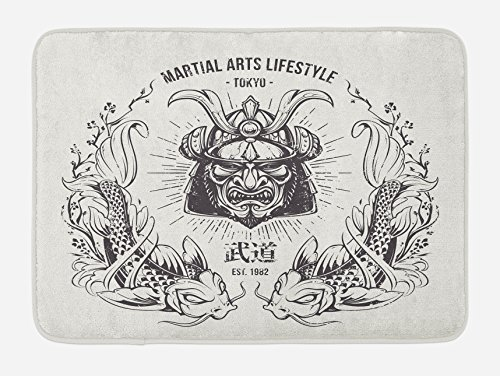 Ambesonne Asian Bath Mat, Traditional Japanese Samurai Mask Koi Fish Martial Arts Lifestyle Tokyo Typography, Plush Bathroom Decor Mat with Non Slip Backing, 29.5 W X 17.5 W Inches, Coconut Grey ()