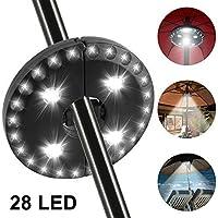 Sombrilla Luz 28 LED Paraguas Lámpara 3 Modos 220 Lúmenes Dispositivo de Iluminación LED Inalámbrico Multifuncional para Paraguas de Jardín Patio Playa Terraza y Piscina (Sin Batería)