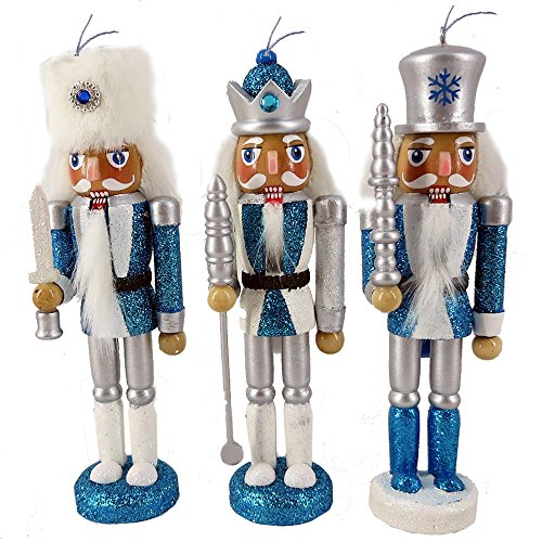 Christmas Nutcracker Figure Soldier Ornaments Snow Fantasy Sparkle Blue and White Wood Set of 3
