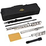 Mugig Flute, Nickel Silver Closed Hole C Flute, 16 Hole with Case
