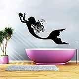 Mermaid Wall Decal Vinyl Sticker Decals Nymph Girl Tail Sea Animal Sea Ocean Bathroom Home Decor Bedroom Dorm Girls Nursery Kids Art ZX155