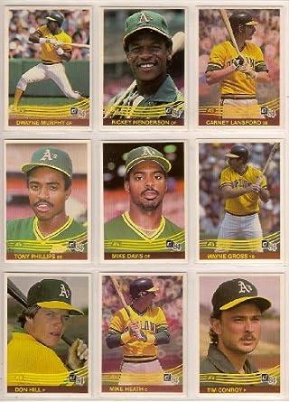 Oakland Athletics 1984 Donruss Baseball Team Set Rickey Henderson Carney Lansford Dwayne Murphy Mike Davis Wayne Gross Tony Phillips Rookie